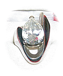 Heavy Sterling Silver & Pear Shape Zircon Ring . . . (Image1)