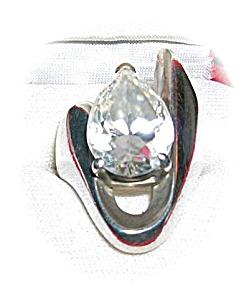 Heavy Sterling Silver & Pear Shape Zircon Ring . . . (Image1)