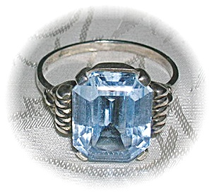 Vintage German Silver Ring 5cts Light Blue Stone . . . (Image1)