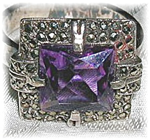 Vintage Silver Marquisite & Amethyst Ring (Image1)