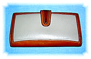 Tan & Taupe Leather Coach Checkbook Wallet