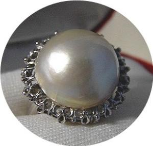 Ring  14K White Gold Mabe Pearl Signed Love Bright  (Image1)