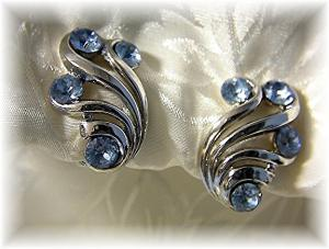 Trifari Silver Tone Blue Rhinestone Clip Earrings