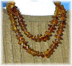 33 Inch Long Necklace Of Honey Amber Nugget B (Image1)