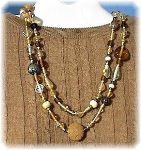 48 Inch Glass Bone & Clay Bead Necklace. (Image1)