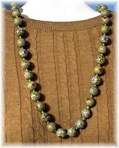 30 Inch Pink Gold Emerald Sapphire Cloisinee Necklace