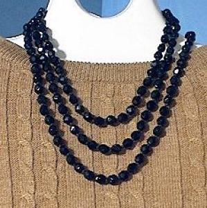 58 Inch Hand Knotted French Jet/Glass Beads (Image1)