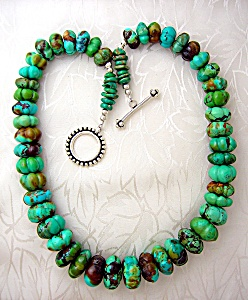 Turquoise Pumpkin Sterling Silver Clasp Beads