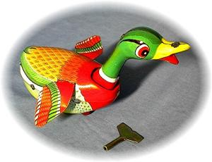 Old Working Keywind Tin Toy Duck