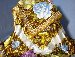 Luxury 42 Inch Oversize Blue Pink Gold100% Silk Scarf (Image1)