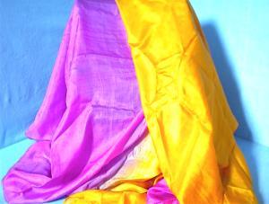 100% Silk Hot Pink/Orange Oversize Stole. (Image1)
