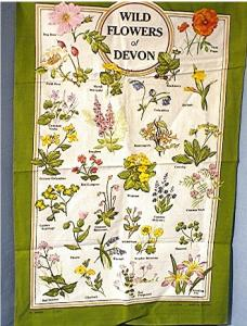 100% Linen Flowers Of Devon English Tea Towel
