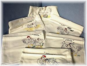 6 Hand Embroidered Chicken Floursack Kitchen (Image1)
