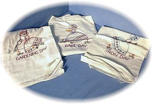 3 Hand Embroidered Floursack Kitchen Towels (Image1)
