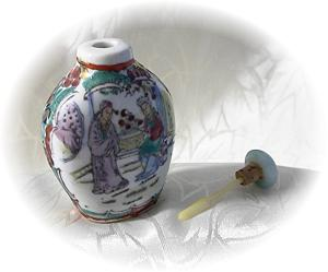 Oriental Figured China Spice Bottle W/ Spoon (Image1)