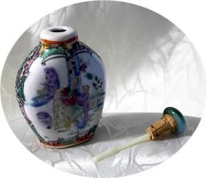 Oriental Snuff Bottle Porcelain Jadeite Painted China  (Image1)