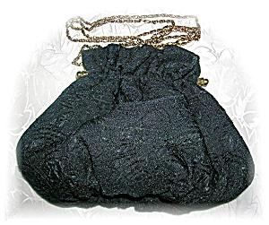Vintage Black Satin & Silk Evening Bag China (Image1)