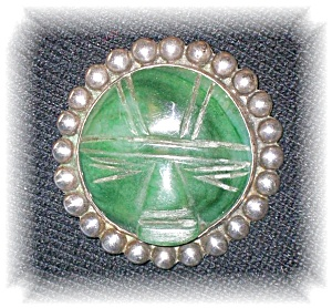 Fabulous Vintage Mexican Jade & Sterling Pin (Image1)