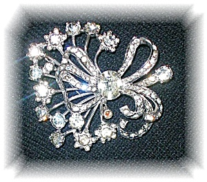EISENBERG Sterling Silver Crystal Spray Brooch (Image1)