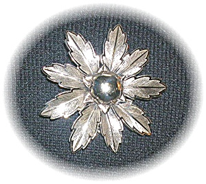 Large Signed Bell Nickel Silver Flower Brooch (Image1)