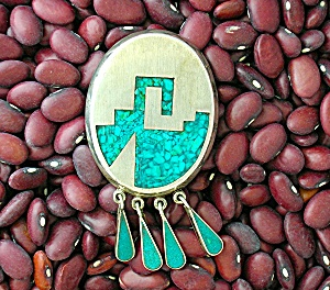 Sterling Silver Turquoise Mexico Eagle 2 ACE Brooch (Image1)