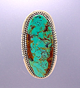 Sterling Silver Signed L. Bahe Turquoise Ring . . . . .