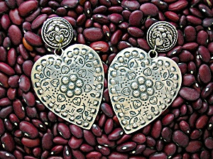 Sterling Silver Heart FOREE Signed Clip Earrings (Image1)
