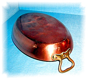 VINTAGE OVAL COPPER SHAFING DISH WITH BRASS (Image1)