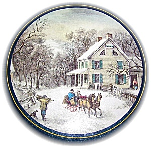 CURRIER & IVES STYLE CANISTER TIN (Image1)
