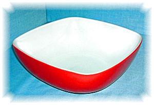 VINTAGE PYREX RED SQUARE SERVING BOWL (Image1)