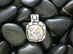 Pendant Sterling Silver Gold Vermeil Faceted CZ  (Image1)