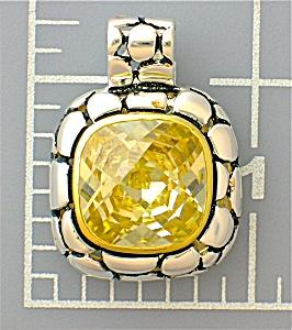 Pendant Sterling Silver Gold Vermeil Lemon Citrine CZ  (Image1)