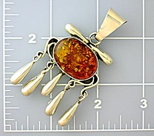 Pendant Sterling Silver Golden  Amber Tassle  (Image1)