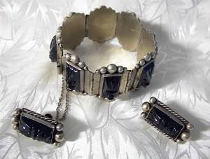 Bracelet Mexican Silver & Black Onyx & Earrings (Image1)