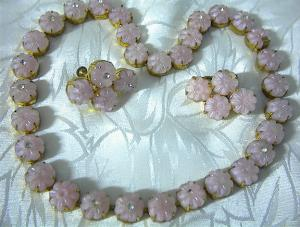 Pink Glass Rhinestoneczechoslovakian Necklace Earr