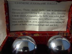 Chinese Excersize Balls In Red Silk Box