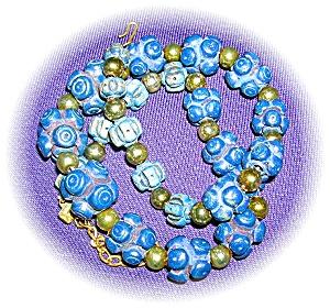 Vintage Midnight Blue Bakelite Plastic Neckla (Image1)