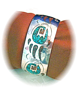 Native American Coral Turquoise Sterling Silver Inlay D (Image1)