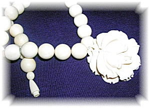 Bone Ivory Beads Center Flower Pendant