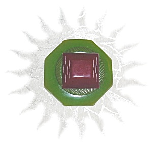 Bakelite Apple Green & Red Artist Button Pin (Image1)