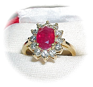 Ruby Diamond 14k Yellow Gold Ring . . . . . . (Image1)