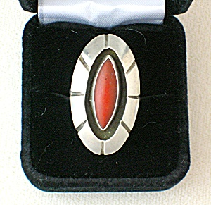 Native American Sterling Silver and Coral  Ring (Image1)