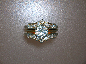 Ring 14K Gold 1ct MOISSANITE 3/4ct Diamond Guard (Image1)