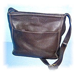 Dark Browm Leather COACH Shoulder Bag (Image1)