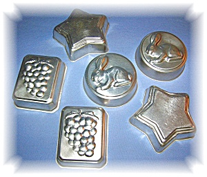 SET OF 6 JELLO, JELLY MOLDS, ALUMINUM (Image1)