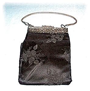 Vintage Black Silk Silver Snake  Chain Bag HD (Image1)