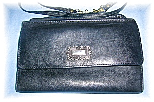 Black Leather FOSSILL Shoulder Wallet/Bag (Image1)
