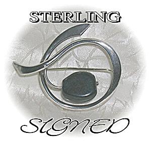 Sterling Silver ?DENMARK Signed Brooch (Image1)
