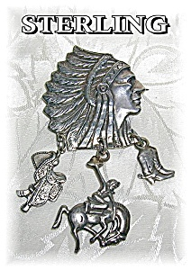 Sterling Silver Indian Chief & Charm Brooch