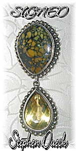 Brooch Sterling Silver Stephen Dwek Golden Topaz  (Image1)